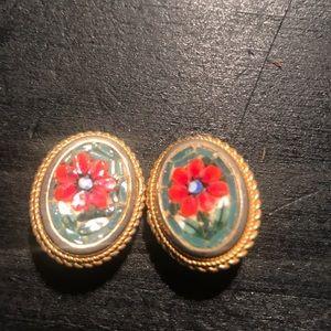 Vintage micro mosaic clip earrings